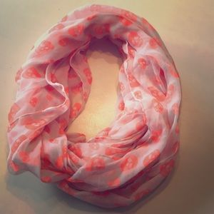 White and orange scarf with skulls. From Old Navy